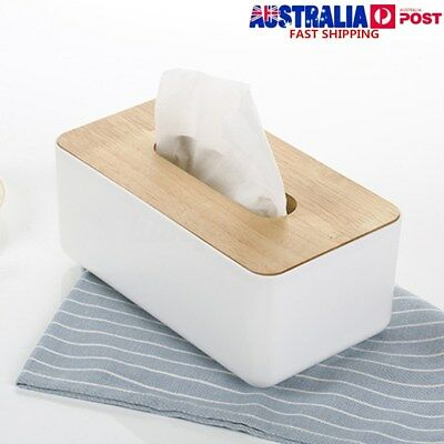 Wooden Plastic Tissue Box Paper Cover Home Car Dispenser Holder Storage Decor