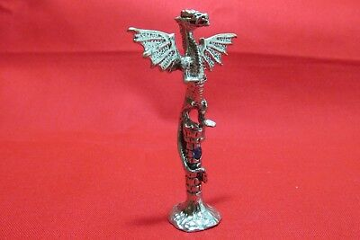 Pewter Dragon Standing On A Castle   With Red  Crystal   Figurine