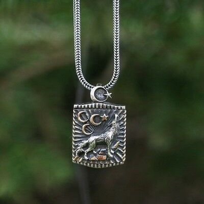 925 Sterling Silver Turkish Wolf Pendant incl. Silver Chain Handmade Jewelry