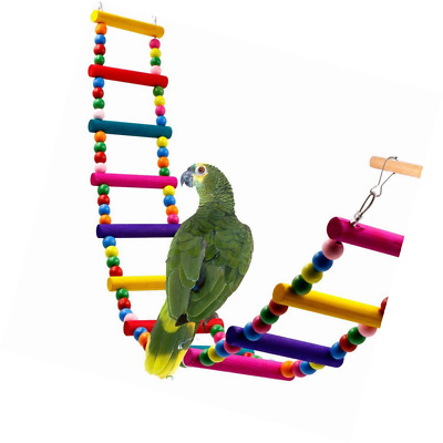 Colorful Ladder Bird Toy, Rusee 12-Step Flexible Ladders Wooden Rainbow Bridge