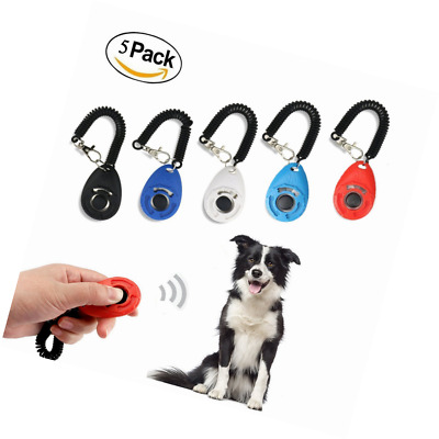 Ewolee 5 Pack Pet Training Clicker,Dog Clicker with Wrist Band Big Button