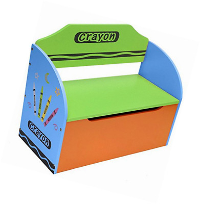 Kiddi Style Childrens Wooden Toy Storage Box And Bench (Crayon Themed) Bebe  Style GCR1TB