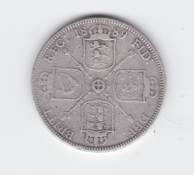 1889 Sterling Silver Florin United Kingdom Queen Victoria veiled Jubilee  S-424