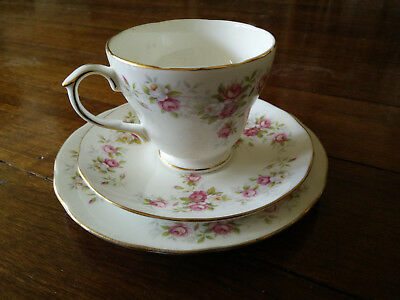 Duchess bone china June Bouquet teacup and 2 saucers