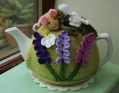 Hand Knitted Lavender Mouse Tea Cosy For A Medium Teapot Crochet Butterfly