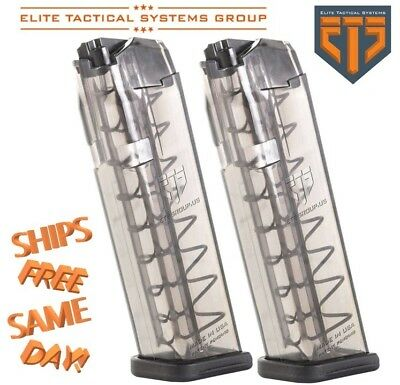 PAIR, ETS Elite Tactical Systems Glock 19 or 26, 9MM 10-Round Magazine GLK-19-10