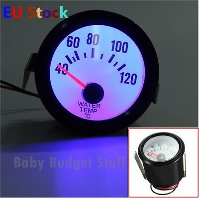 "Universal Car Black Water Temp Celsius Gauge TACHO 40-120°C Blue Light 2"" 52mm"