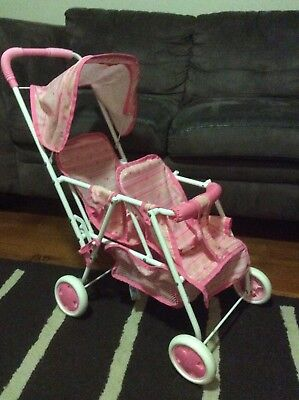 Doll's Tandem Twin Baby Double 2 Seater Stroller Pram w/ Hood Kids Role Play Toy
