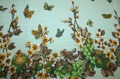 Vintage Cotton Crinkle Fabric with Butterfly Design - 1970's