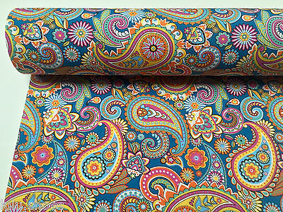 BLUE PAISLEY Fabric Upholstery Curtain Cotton Material floral print - 140cm wide