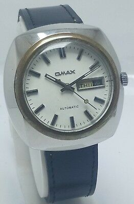 Genuine Vintage Omax Automatic Day & Date 21J Wrist Watch For Men's Swiss Made