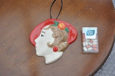 Vintage Moorland Pottery Clarice Cliff Style Art Deco Wall Mask..