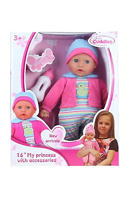 "16"" soft bodied baby doll with feeding milk bottle 3 designs new kids toy"