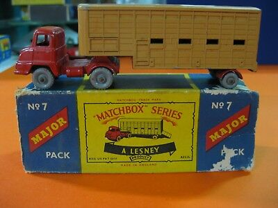 Vintage 60/70´s Matchbox Lesney Major Pack Nº7 Jennings Cattle Truck Ruedas Gris
