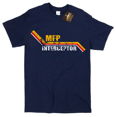 Mad Max MFP Interceptor Movie Inspired T Shirt - V8 Car Pursuit Navy Blue NEW