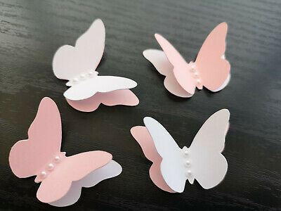 24x BABY SHOWER Table Decorations 3D Butterflies white and pink Colored pearls