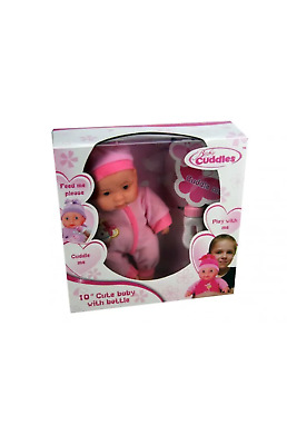 "10"" soft bodied baby doll with feeding bottle kids toys new assorted designs"