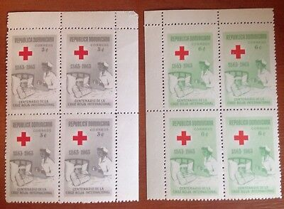 Dominican Republic 1963 Red Cross Blocks of 4 MNH