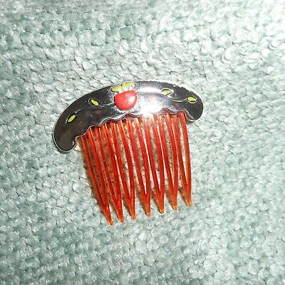 VINTAGE AMBER HAIR COMB w/SILVER BAR & RED APPLE