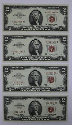 Lot of 4 US $2 Dollar Jeffersons Series 1963 Star Notes Consecutive #'s