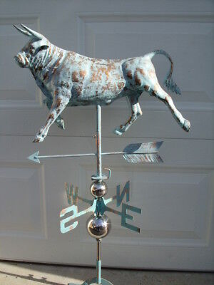 3D BULL COW Weathervane Antique Copper Finish Weather Vane Hand Crafted