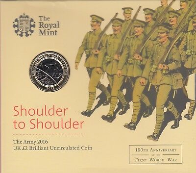 2016 Brilliant Uncirculated Shoulder Shoulder 100th Anniversary WW1 £2 Coin Pack