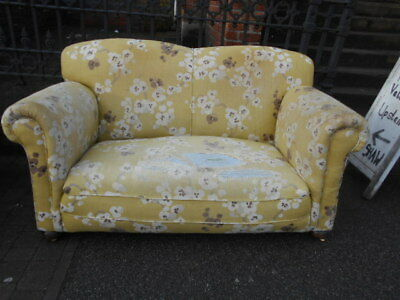 Vintage 1920s 1930s drop arm sofa settee converts to chaise lounge floral retro