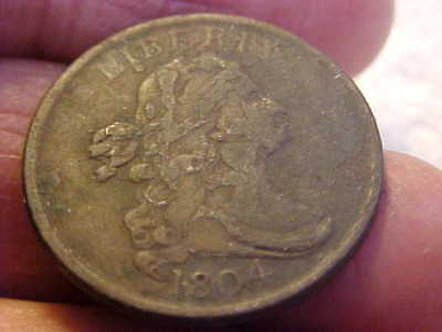 1804 Draped Bust HALF Cent CROSSLET 4  STEMS  VERY FINE  ENVIRONMENTAL DAMAGE