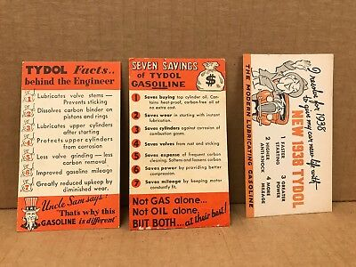 Lot Of 3 Vintage 1930/40's Tydol Advertising Business Cards/blotters 4X3 In.