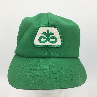 56b8aea6ff317 Vtg Pioneer Seed Sewn Patch Front Green Snapback Hat Cap K Products Made in  USA