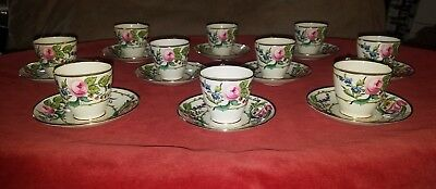 Signed Set (10) MINTON H2493 GOLD FLORAL PORCELAIN CHINA TEA CUPS & SAUCER c1891