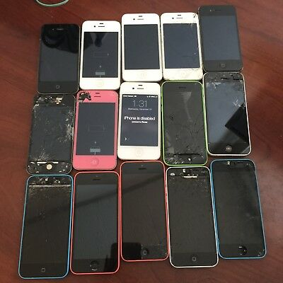 Lot of 15 Apple iPhones (5C, 4S, 4) for Parts/Repair or Gold/Metal Recovery Only