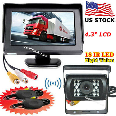 """Wireless 4.3"""" TFT LCD Car Rear View Monitor +Bus Truck Trailers Backup Camera"""