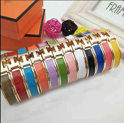 New Gold Women Stainless Steel H-shaped Buckle Bracelet Bangle Jewelry