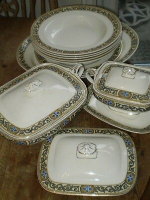 J & G Meakin Sol No 391413 - Tureen,sauce Boat,serving & Dinner Plate,soup Bowls