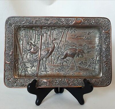 "High-Relief Japanese Metalware/ Bronze Tray. Possibly Antique ""Menji"" Period."