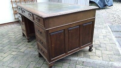 Large Antique Style Mahogany Twin Pedestal Desk with Leather Lined Writing Top