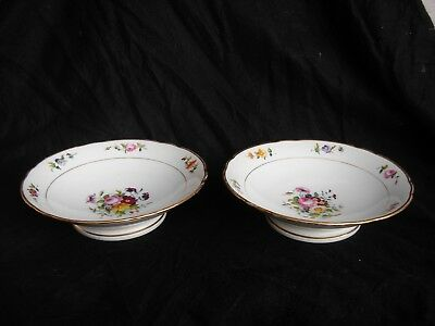 Pair Of Antique French Old Paris Footed Porcelain Plate,middle Xix Century
