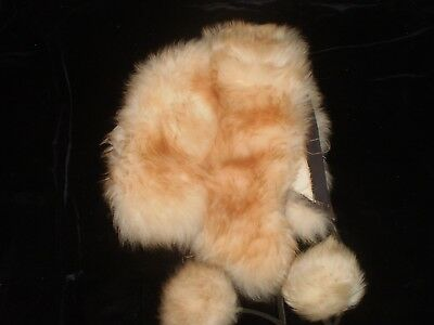 Vintage Long Fur Dyed Sheep Sheepskin Sherpa Style Pompom Ties Warm Unlined