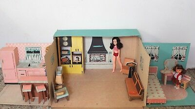 RARE VINTAGE IDEAL TAMMY DOLL HOUSE with FURNITURE CARDBOARD 60'S
