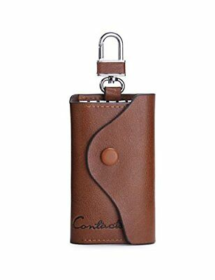 Contacts Mens Genuine Leather Cowhide Car Key Case Card ID Holder Wallet Keyr...