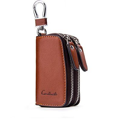 Contacts Genuine Leather Double Zipper Car Key Case Holder Wallet Keychain Co...