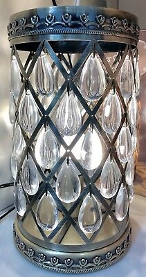 Vintage Style Ornate Antique Brass Metal Glass Droplet Cylinder Table Lamp NEW