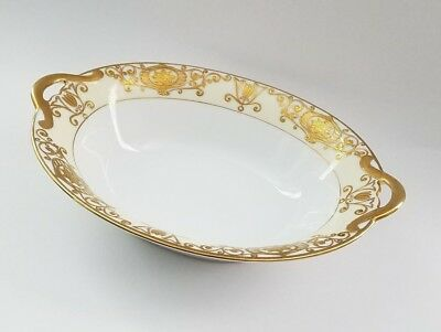 NORITAKE CHRISTMAS BALL 175 OVAL OPEN HANDLES Vegetable Serving Bowl GOLD STAMP