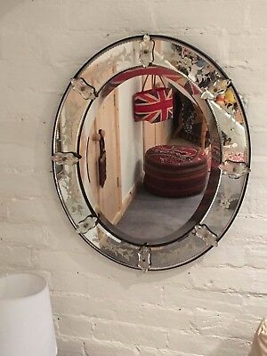 Old Venetian Glass Large Oval Mirror
