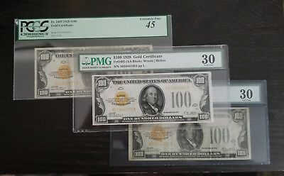 1928 $100 Three (3) Gold Certificates For Sale