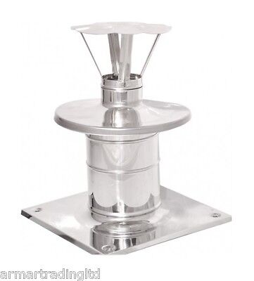 Stainless Steel Twin Wall Flue Pipe Cowl Top Plate Protection Cap Pot Rain Cover