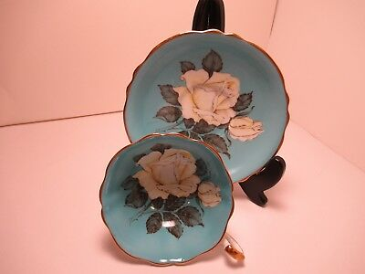 Gorgeous Paragon Eng China Cup& Saucer Blue With White Rose Cup & Saucer!!!!
