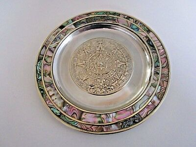 Mexican Alpaca Silver Plated & Abalone Shell Plate / Wall Plaque