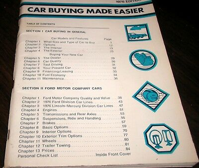 FORD CAR BUYING MADE EASIER BOOK for 1976 EXC CONDITION